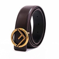 FENDI Fashion Women Men Smooth Buckle Belt Leather Belt Coffee
