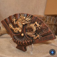 Handmade Ceramic Dragon & Lotus Fan Backflow Incense Burner