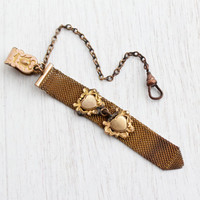 Antique Rosy Yellow Gold Filled Pocket Watch Chain - Womens Victorian Swivel Clip Jewelry with Mesh Fob Charm/ Double Heart