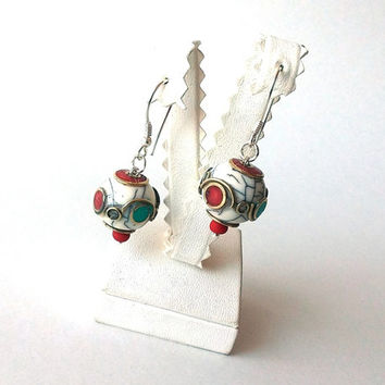 Tibetan Jewelry, Sterling Silver Filigre & Tibetan White Crackle Resin Bead  w/Inlaid Turquoise and Coral Pierced Dangle/Drop Earrings