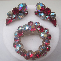 Vintage Brooch/Matching Earrings/Red Aurora Borealis/Gift Giving/1950's/Mid Century