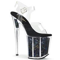 "Flamingo 808GF Black Hologram Glitter Platform Sandal Shoe  8"" High Heels"