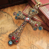 Vintage Retro Style Cross Metal Pendant Chain Necklace , Crystal Diamond Studded Personalized Necklace , Jewely Necklace Chain