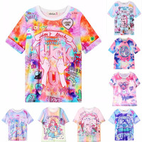 2015 women's  My Little Pony t shirts Unicorn Pegasus Tombstone CC Harajuku FUCK gradient doodle tshirt girl tops cute cartoon