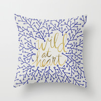 Wild at Heart – Navy & Gold Throw Pillow by Cat Coquillette