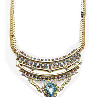 NECKLACE / COLOR HOMAICA STONE / SNAKE CHAIN BIB / LAYERED METAL ROD / TEARDROP / AURORA STONE / 14 INCH LONG / 2 1/4 INCH DROP / NICKEL AND LEAD COMPLIANT