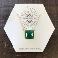 Square Gemstone Necklace - Green Onyx