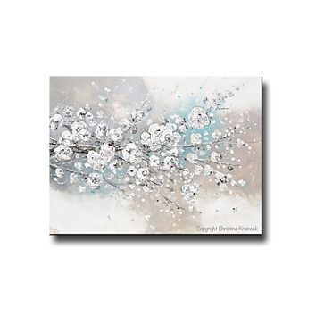 """Change of Seasons"" CUSTOM Original Art Abstract Painting White Cherry Blossoms Branch Flowers White Grey Creme Blue Neutral Home Wall Decor"