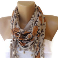 for her , fashion scarf , floral print scarves with pom pom trim , beige mustard , gifts for her