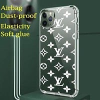 LV Louis Vuitton Mobile phone case high-end luxury printed iphone 11 pro max transparent xs presbyopia jelly phone case White