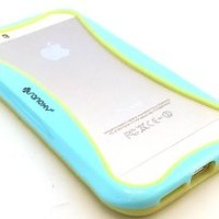 SANOXY® GLOW in the DARK PC + TPU Bumper Case Cover Side Clips for iPhone 5 5S (BLUE)