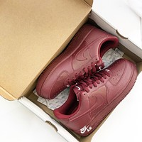 NIKE AIR FORCE 1 07 LTHR AF1 Red Litchi Leather Low Band Shoes for Men and Women
