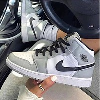 NIKE Air jordan 1 High men women's color block sneakers Shoes