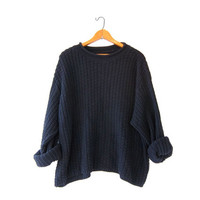 vintage navy blue sweater. oversized slouchy pullover sweater. boyfriend loose knit sweater.