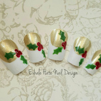 Christmas Holiday Holly Gold and White French Twist Tips Winter Fake Press on Nails - Stiletto, Square, Oval, Coffin/Ballerina