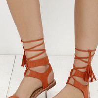 Soledad Canyon Burnt Orange Lace-Up Flat Sandals