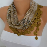 ON SALE - 50% OFF - Zebra Scarf Cotton Scarf - Shawl - Cowl with Lace Edge - fatwoman