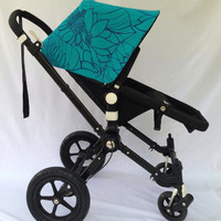 Sample Sale! Turquoise Floral Replacement Canopy or Hood for Bugaboo Cameleon or Cameleon3. 25% Off!