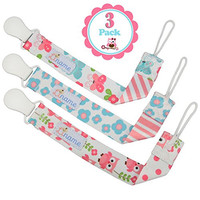 Pacifier Clip Girls-3 Pack by Liname-Universal Pacifier Clip-Adorable Double Sided Stylish Design-Pacifier Holder-Best Girls Pacifier Clips for Teething Ring,Soothie Pacifiers-Unique Baby Shower Gift