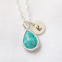 Personalized Turquoise Necklace -- December Birthstone, Bride/Bridesmaid Gift, Birthday, Simple/Elegant -- MADE TO ORDER