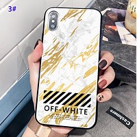 Off White New fashion letter marble print protective cover phone case 3#