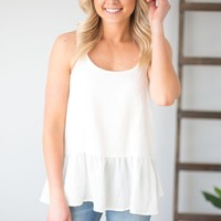 Carried Away Peplum Tank- White