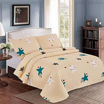 Kindred Home Kids Quilt Set Bedspread Cute Pattern  for Girls and Boys