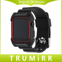 TPU Rubber Watchband with Protective Case for 38mm 42mm iWatch Apple Watch Band Wrist Strap Bracelet with Frame Black Red White