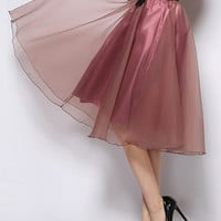 Dark Purple Semi-sheer Knee High Skirt With Bow Belt