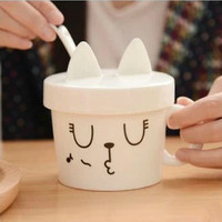 Creative Cartoon Cat Coffee Mug with Cover and Spoon Ceramic Milk Cup Valentines Drinkware Gift SH796