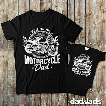 Motorcycle Dad and Daddy's Future Riding Buddy Matching Shirts for Dad and Baby