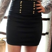 Wholesale OL Style Double-breasted Slim Short Skirt Black