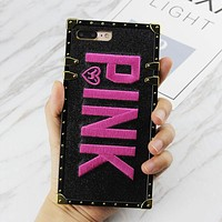 Victoria's Secret Pink Popular Women Personality Flash Pink iphone 6 6s 7 7plus 8 X iPhone Embroidery Shiny Phone Case Black I12405-1