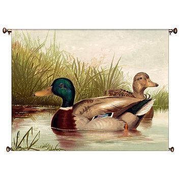 Ducks Swimming Picture on Canvas Hung on Copper Rod, Ready to Hang, Wall Art Décor