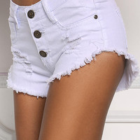 White Frayed & Distressed Denim Shorts