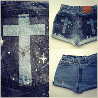 Galaxy Cross Distressed Cut-off Levi Shorts