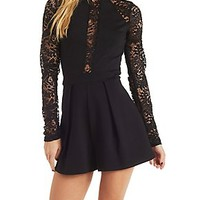 LACE & PONTE KNIT LONG SLEEVE ROMPER