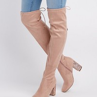 Glitter Heel Over-The-Knee Boots | Charlotte Russe