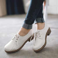 Casual Non-Slip Bottom Lace On Round Toe Botas Moccasin Black Woman Shoes PU Faux Leather Shoe Womens Oxfords Top Size US 10