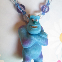 Sulley from Monsters Inc, Pearls, Monsters Inc, Pearl necklace, Blue & Purple necklace, Ribbon tie necklace, Girls gift, Girls Birthday gift