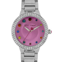 Betsey Johnson Ladies Crystallized Silver Tone Watch with Pink Dial