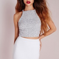 Missguided - Knitted Ribbed Crop Top Grey