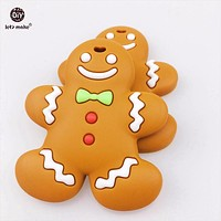 Let's make Silicone Bread Villain Teether Chewable Silicone Pendants BPA Free Gingerbread Man 5pc Nursing Baby Toys Baby Teether