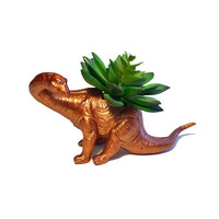 Up-cycled Bronze Apatosaurus Dinosaur Planter