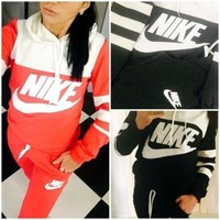 NIKE Fashion Women Casual Gym Sport Stitching Color Hoodie Two Piece Suits I-1