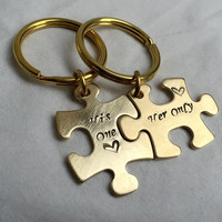 Valentine's Day Gift for couples, Puzzle piece keychain set, Puzzle piece keychain, puzzle keychain, Gold puzzle keychain, His one Her only