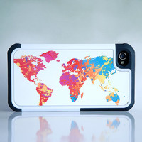 Colorful World Map Hybrid Rugged Phone Case - iPhone + Samsung Galaxy