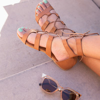 Cora Lace Up Sandals - Tan