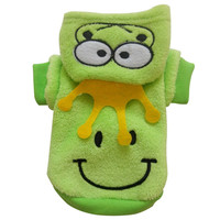 New Cute Lovely Pet Cat Dog Soft Coat Costumes Fleece Frog Pattern Clothes Pets Jacket Hooded XS S M L XL