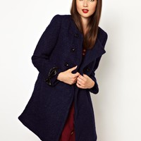 Nishe Double Breasted Coat In Boucle